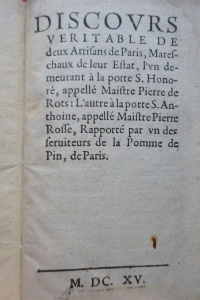 Discours véritable de deux artisans de Paris