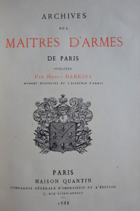 Archives des maîtres d'armes de Paris
